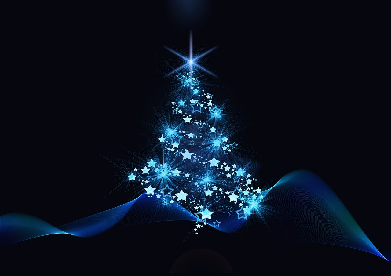 christmas, blue, black