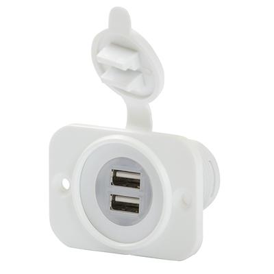 2x USB kontakt vit