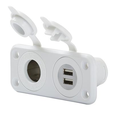 Combi uttag USB 12V vit